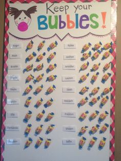 Bubble Gum Blurt Chart - this is something I created for my class to help encourage self control during instruction time. my students have 3 chances (3 pieces of gum per week) and if they interrupt or blurt out a piece is removed from their name and put into the LOST BUBBLES bucket. If they have any pieces left at the end of the week, they will receive a price of bubble gum. Hopefully this will help cut down on interruptions and talking out.