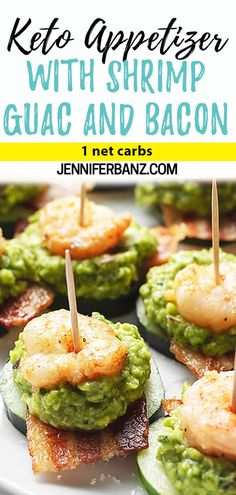 football food These keto appetizers will be a low carb fan favorite this football season! This buttery shrimp with savory bacon is not your average finger food! This creamy guacamole app Appetizers For A Crowd, Low Carb Appetizers, Seafood Appetizers, Finger Food Appetizers, Easy Appetizer Recipes, Food For A Crowd, Finger Foods, Keto Shrimp Recipes, Easter Recipes