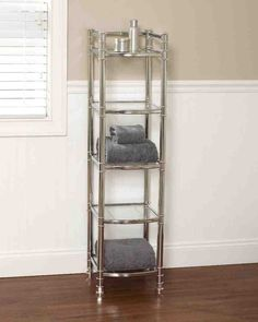 Add an elegant and practical storage solution to your bathroom with the Studio Accents Linen Tower. The tower has five tempered glass shelves for display or storage of bathroom items. The unit has a sleek, open design that will Bathroom Organization, Bathroom Storage, Bathroom Ideas, Organization Ideas, Storage Ideas, Built In Wardrobe, Wardrobe Closet, Closet Doors, Hotel Linen