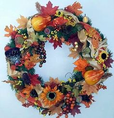 Large Fall Thanksgiving Wreath Autumn Wreath Fall by HomeDecor4All, $105.00