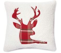 "Woodland Collection Christmas Sherpa Deer Throw Pillow, (17"" x 17"") from Big Lots $12.00"
