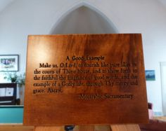 A Good Example prayer carving on Maple wood. This prayer dates from the sixth century. Cool Words, Dates, Verses, Prayers, Carving, Faith, Pure Products, Wood, Etsy