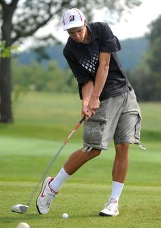 Tusky Valley's Payton Ziegler tees off during a match against Fairless at Wilkshire Golf Course in Bolivar on Tuesday. Ziegler had a 43 and Tusky Valley won the contest.
