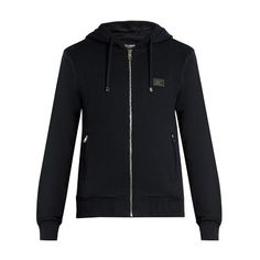 Dolce & Gabbana Logo-plaque cotton-jersey hooded sweatshirt (1.700 BRL) ❤ liked on Polyvore featuring men's fashion, men's clothing, men's hoodies, navy, mens zipper hoodies and mens zip up hoodies