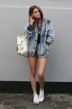 oversized denim jacket - somehow this makes me think of roadtrips Plus this female is so hottt