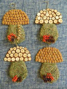 hríby so sena a rôzneho prírodného materiaálu Autumn Activities For Kids, Fall Crafts For Kids, Toddler Crafts, Diy For Kids, Autumn Crafts, Autumn Art, Nature Crafts, Easy Crafts, Diy And Crafts