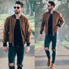suede-bomber-jacket Suede Jacket Outfits for Men- 20 Ways to Wear a Suede Jacket Mode Masculine, Men Looks, Mode Outfits, Casual Outfits, Casual Shorts Outfit, Casual Shoes, Grunge Outfits, Stylish Men, Men Casual