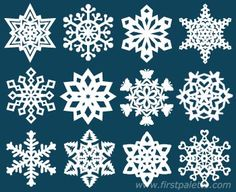Paper Snowflake craft - links to printable templates Paper Snowflake Template, Paper Snowflake Patterns, Snowflake Photos, Simple Snowflake, Snowflake Craft, Snowflake Garland, Snowflakes For Kids, Paper Snowflakes, Winter Activities For Kids