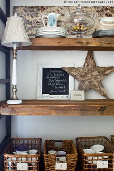 Love the reclaimed wooden shelves!