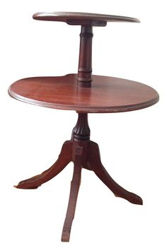 Vintage Side End Table Two Tier Round —