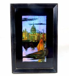 Art Deco Iridescent Butterfly Wing Picture City/River Scene + Boats Framed 1920s - Ebay £6.95