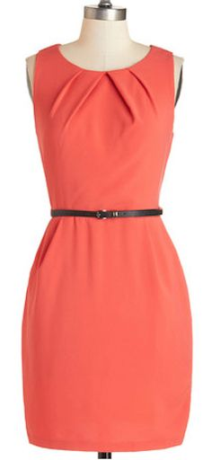 Myriad Moods Dress in Coral. The last time you donned this dark-coral sheath, its rich hued reflected your energetic attitude. Unique Dresses, Cute Dresses, Casual Dresses, Fashion Dresses, Dresses For Work, Summer Dresses, Women's Fashion, Vestidos Vintage Retro, Retro Vintage Dresses
