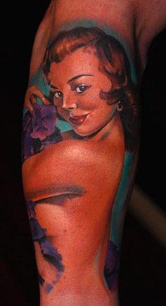 Vintage Pin Up Tattoos Tattoo Girls, Girl Tattoos, Tatoos, Pin Up Vintage, Vintage Ladies, Pin Up Girls, Pin-up-girl Tattoo, Special Tattoos, Pin Up Tattoos