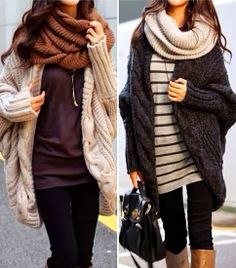 Delightful scarf and oversized cardigan styles