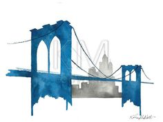 Original Watercolor Painting, Brooklyn Bridge in New York City for the home. Interior Design accessories and artwork