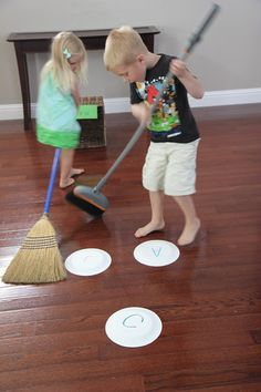 Name Broom Hockey-could change plates/goals to target other themes or goals. Adapt for Curling...