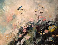 Niebieska ważka olej na płótnie  Blue dragonfly Oil on canvas