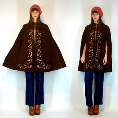 VTG 60s 70s Suede Leather Cape Poncho Cut Out by BluegrassVoodoo, $58.00
