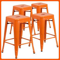 4 Pk. 24'' High Backless Orange Metal Indoor-Outdoor Counter Height Stool with Square Seat - Improve your home (*Amazon Partner-Link)