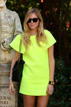 neon shift dress