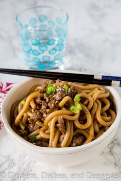 Garlic Beef Noodle Bowls - an Asian style noodle bowl with lots of garlic, that is ready in just minutes! Great for busy nights.