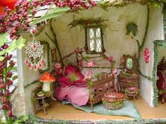 There are many ways to build fairy houses. This craft is really fun to do with children as their imaginations are amazing. I hope this page will inspire you to create your own fairy houses, enjoy! Fairy Dust, Fairy Land, Fairy Tales, Fairy Room, Fairy Crafts, Fairy Furniture, Dollhouse Furniture, Gnome House, Attic Design