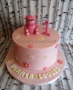 Teddy topper 1st birthday cake