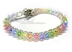 Swarovski Crystal Bracelet Sweet rainbow single row by candybead