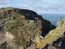 Remains of Tintagel Castle, legendary birthplace of King Arthur