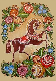 Embroidery Folk Folk Gorodets painting from Russia. A floral pattern with a horse. Folk Embroidery, Embroidery Patterns, Textile Patterns, Russian Folk Art, Russian Painting, Deco Floral, Naive Art, Tole Painting, Traditional Art