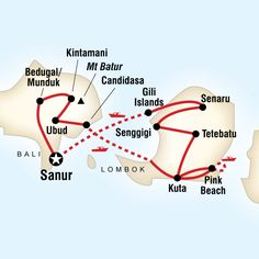 Map of the route for Classic Bali & Lombok.