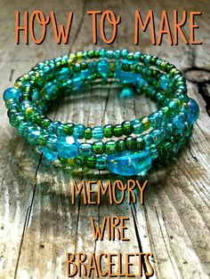 Jewelry Making Tutorials How to make memory wire bracelets! - Memory wire diy bracelet tutorial using beads, memory wire, pliers. This easy to make memory wire bracelet wraps around your wrist. Memory Wire Jewelry, Wire Jewelry Making, Memory Wire Bracelets, Craft Jewelry, Handmade Jewelry, Wire Jewellery, Handmade Wire, Jewellery Making, Personalized Jewelry