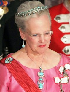 Queen Margrethe ii of Denmark  wearing the turquoise and diamonds parure