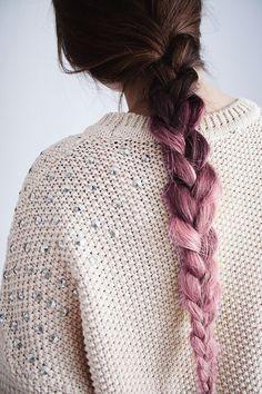 brunette pink ombre hair braid. love it!