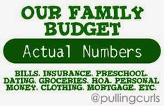 My Actual Budget, with my Actual Numbers