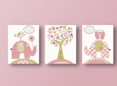Nursery art, baby nursery decor, nursery wall art, kids wall decor, tree, owl, elephant, bird, Set of 3, 8x10 Prints -  Tree Of Love. $46.00, via Etsy.    I like this size better...