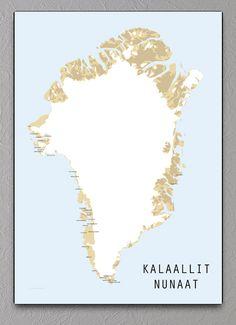 kort over grønland plakat kalaallit nunaat