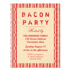 Bacon Strips Party Invitation Typography 38th Birthday13th Birthday PartiesBirthday