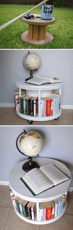 Awesome DIY Furniture Makeover Ideas: Genius Ways to Repurpose Old Furniture With Lots of Tutorials Easy DIY Spool Bookcase. Old Furniture, Repurposed Furniture, Furniture Projects, Furniture Makeover, Furniture Design, Furniture Outlet, Office Furniture, Vintage Furniture, Diy Simple