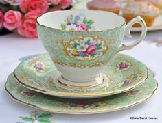 Green and Gold Floral Vintage China Teacups, Saucers and Tea Plates