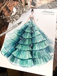 Artclaytion – Chan Clayrene Fashion Illustration Source by Summertrends.club Hint:Use navigation buttons … Dress Design Sketches, Fashion Design Sketchbook, Fashion Design Drawings, Fashion Sketches, Dress Illustration, Fashion Illustration Dresses, Fashion Illustrations, Fashion Illustration Template, Mint Gown