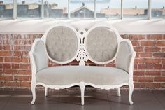 The Avocet / Grey Velvet Settee From Pieces by Violet / Vintage Rentals