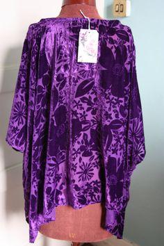 Purple floral silk devore velvet lagenlook by Sassyandsustainable