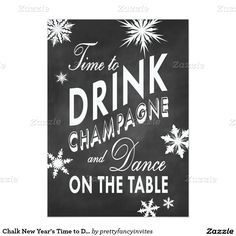 chalk new years time to drink champagne invite
