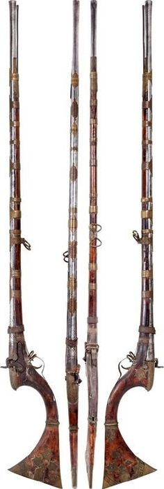 "Indian (Sind) matchlock, 18th century, 19th century percussion conversion, 46"" flared muzzle barrel with mechanical damask spiral pattern throughout. The thickened breach with incised lattice pattern, probably talismanic. Integral opened sight, wood stock with deeply curved rear and dramatically flared butt the tips sheathed in red pigment inlaid segments with additional plain and matching overlays ahead. The fore stock with chiseled brass bands and cap. Drum conversion with handmade lock."
