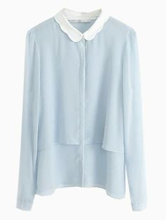 Blue Double Layer Shirt With White Collar | Choies