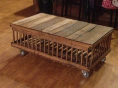My coffee table made out of an old chicken crate.