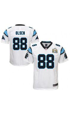 NFL Youth Carolina Panthers Greg Olsen White Super Bowl 50 Bound Game Jersey   SB50   5dddbfc8b