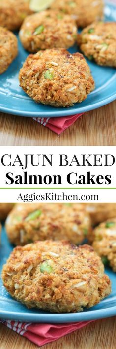 Cajun Baked Salmon Cakes - great for lunches or dinner. I love making these for meal prep and having them ready all week.