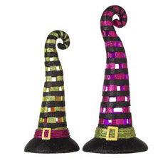 """RAZ Lighted Witch Hat Set of 2  Set/2 Black/Green/Purple Made of Paper Pulp Measures 14"""", 12"""" Includes 3 LR44 Batteries Each Color Changing Lights  RAZ *Ghastly Graveyard* Collection"""